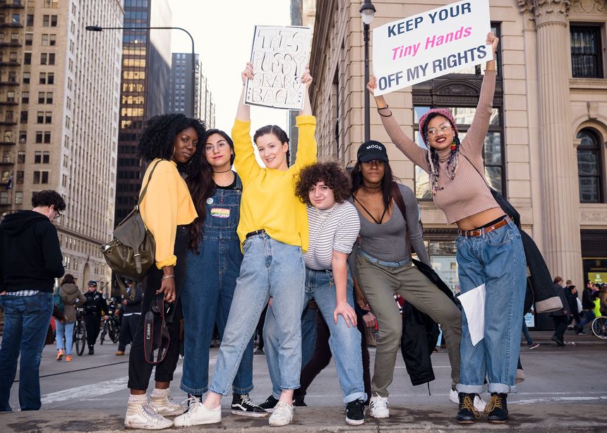 Women's March on Chicago - Brining awareness to women's rights - Protest photography by Michael Courier