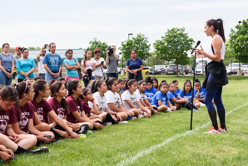 Christen Press shares her experiences during an event with Good Sports - Good Sports donated soccer equipment to Chicago Public Schools on Saturday, June 3rd, 2017 at Hanson Stadium in Chicago