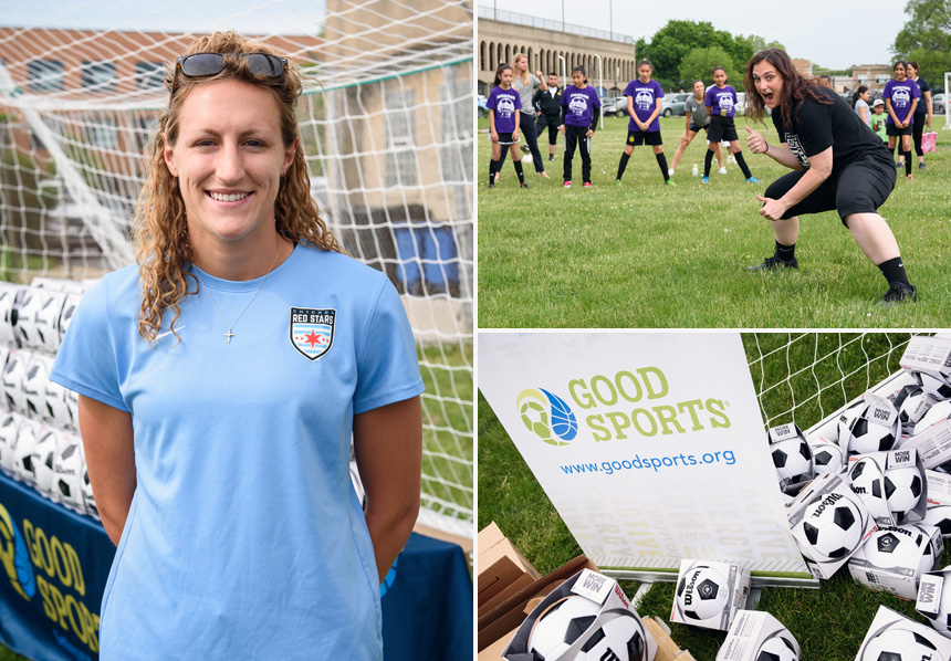 Morgan Proffitt and Michele Dalton - Good Sports donated soccer equipment to Chicago Public Schools on Saturday, June 3rd, 2017 at Hanson Stadium in Chicago