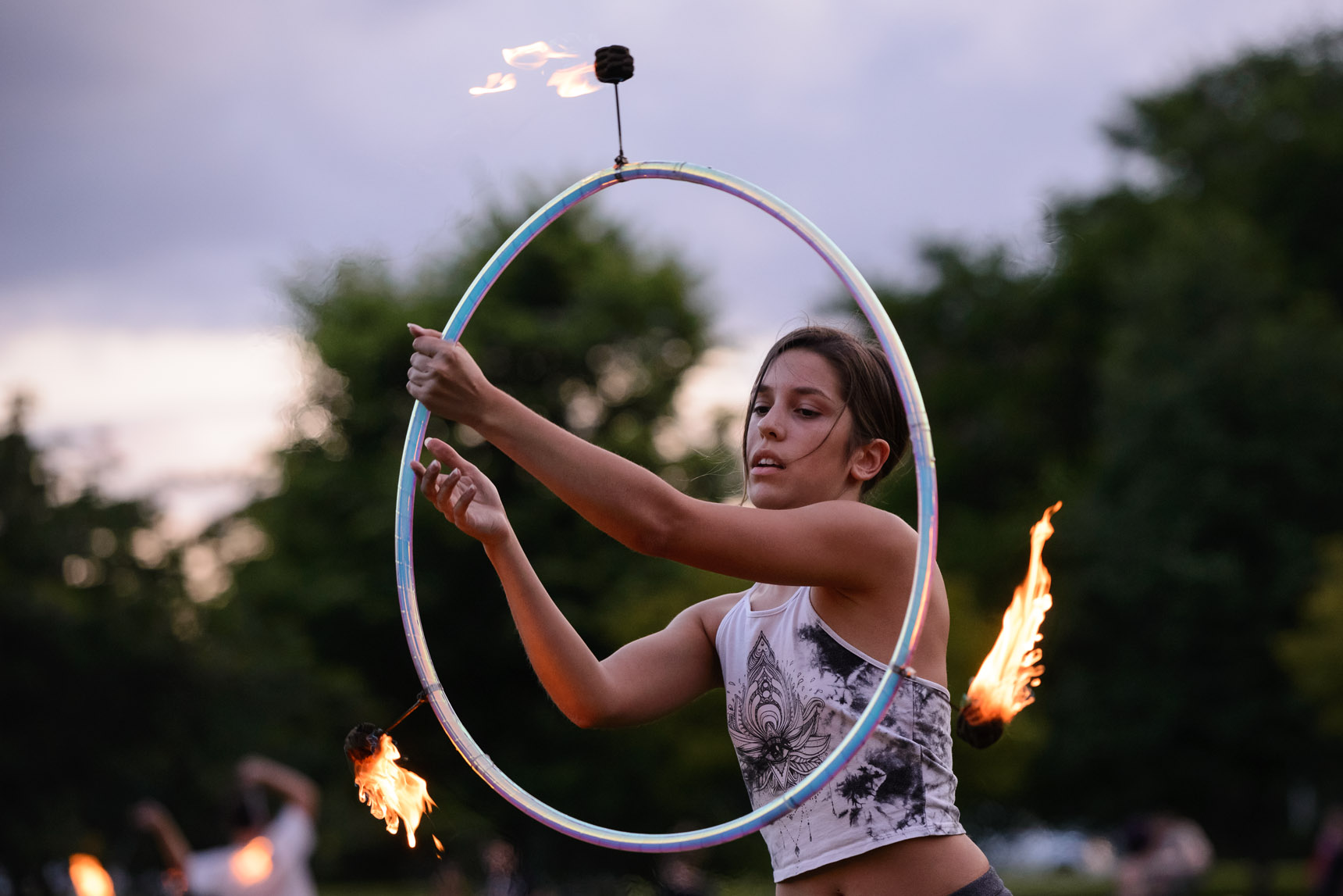 Chicago Full Moon Jam 2018 - Fire performance near Foster Beach - Photography by Michael Courier