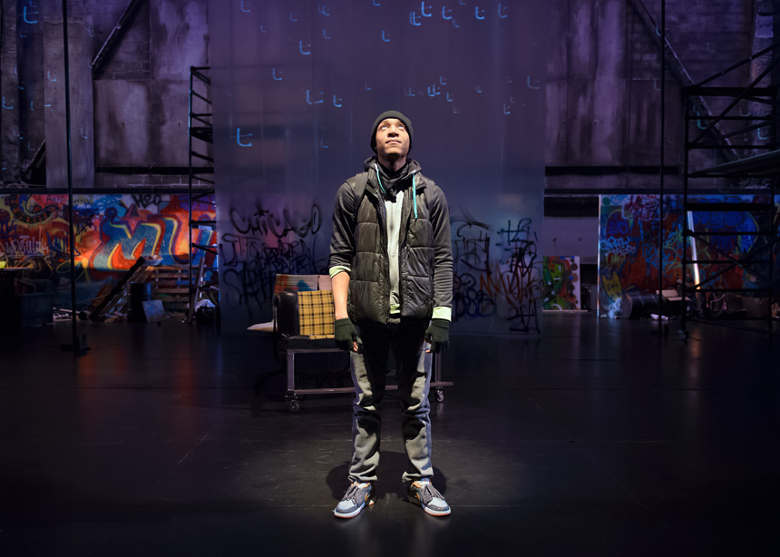 This is Modern Art at Steppenwolf Theatre Company in Chicago - Written by Idris Goodwin and Kevin Coval - Directed by Lisa Portes - Performance photography by Michael Courier