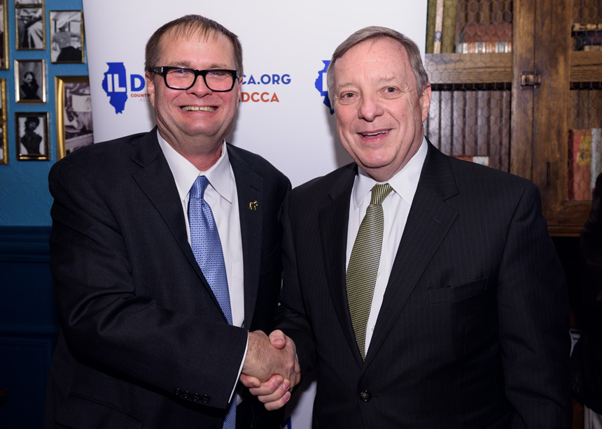 The Illinois Democratic County Chairman's Association (IDCCA) hosted their annual reception in Chicago on March 16, 2017 at the Hubbard Inn - Featuring Doug House and US Senator from Illinois Dick Durbin - Event Photography by Michael Courier