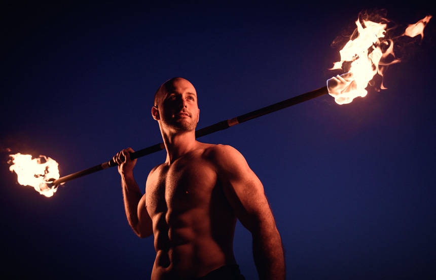 Mark the Fire Performer in Chicago - Portrait Photography by Michael Courier