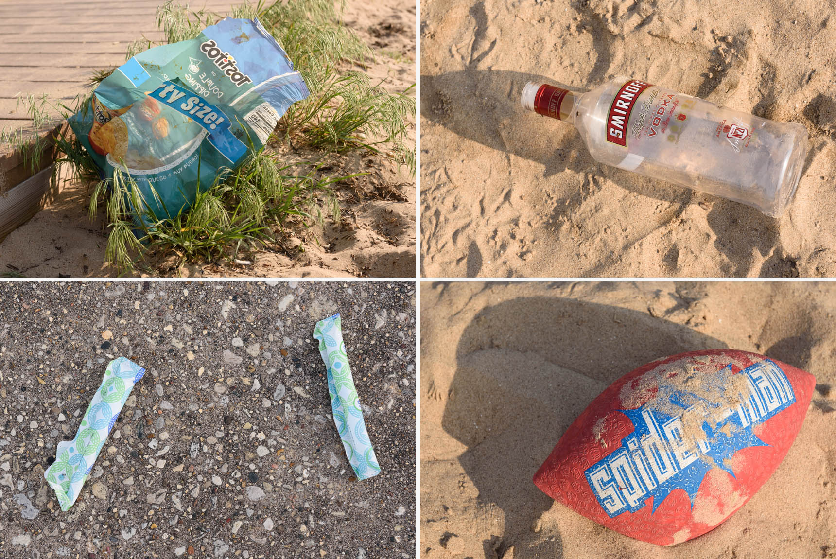 Trash at Kathy Osterman Beach - Stop Trashing Chicago Beaches by Michael Courier